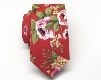 Cotton Mens Tie. Cotton Red Pink Green Floral Skinny Tie With Matching Pocket Square Option