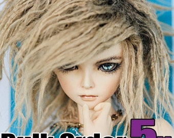 WHOLESALE: Akasarushi Rusty Tan Color Fur Wig Made for abjd doll size SD MSD tiny yosd and puki **Free shipping within United States**