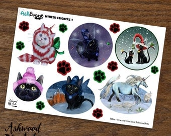 Ash Evans Winter Holiday Christmas Cat Planner Stickers