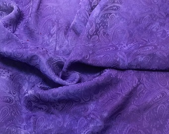 """Hand Dyed Lavender Purple PAISLEY - Silk Jacquard Fabric - 9""""x22"""" remnant"""