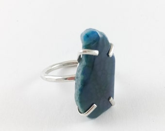 Ready to Ship Designer Teal Slice Onyx Agate Silver Statement Cocktail Ring Size 6 OOAK