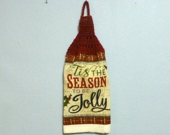Looped Hanging Kitchen Towel Doubled Uncut Tis The Season To Be Jolly Holiday Christmas