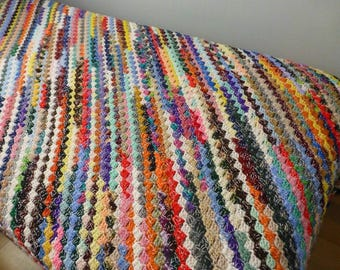 Crochet Afghan, Colorful Throw, Blanket, Fall and Winter Warm Throw, Home Decor, Gift Idea Multi Colored Diagonal Stripes Extra Large
