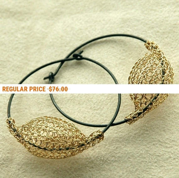 Holiday Sale - Gold and silver large earrings - gold hoop earrings - original handmade design- Gypsy bohemian fashion