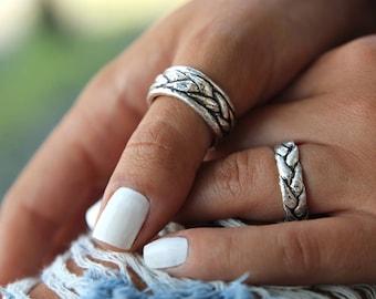 Unique Wedding Rings, Silver Braided Wedding Bands, Braided Wedding Ring Set, Unique Handmade Wedding Band Matching Set Sterling Silver Ring