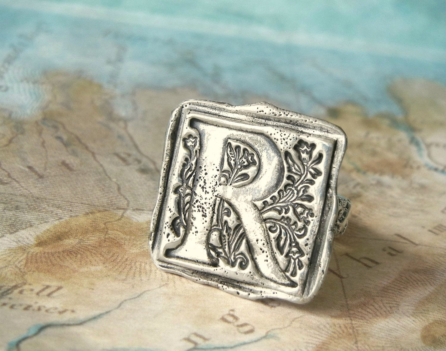 Monogram Wax Seal Ring Hand Stamped Initial Jewelry A B C D