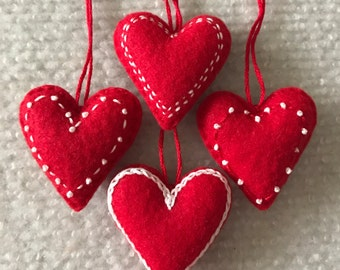 Valentine heart ornaments Red and White felt hearts