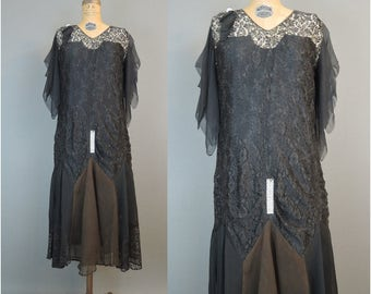 Vintage 1920s Dress Black Lace & Chiffon with Rhinestones, 36 bust, some issues