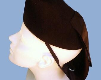 Vintage 40s Black Felt Satin Young Towners Tilt Hat with Snood Drape