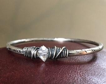 Sterling Silver Bracelet / Bangle Bracelet /  Herkimer Diamond / Silver Bracelet / Silver Bangle / Healing Crystal / DanielleRoseBean