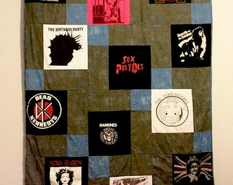 Unique Quilt, Customp-made T shirt memory quilt on two-tone background -- Deposit Only
