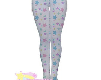 Starry Rainbow Tights, Fairy Kei Tights, Fairykei Tights, cute tights, kawaii tights