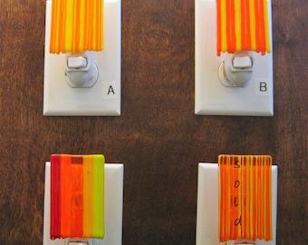 Fused Glass Nightlight, Dripping Glass, Yellow, Orange, Red, and Multicolor Nightlight