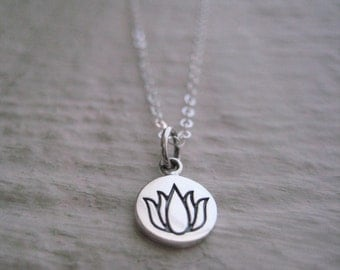 Small Sterling Silver Charm Necklace-  Chain, Gift, Yoga, Flower