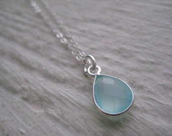 Sea Green Chalcedony & Sterling Silver Necklace- Gemstone, Chain, Bezel, Gift, Wedding, Charm, Drop
