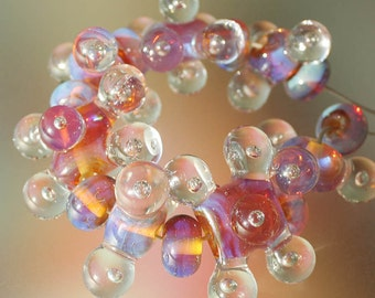 Molecules (morning sun) - Handmade Lampwork Glass Beads (SRA)