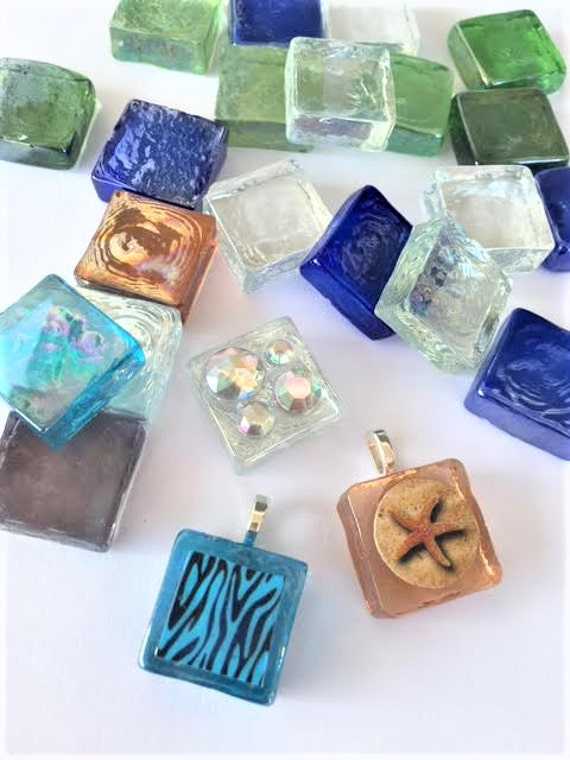 Items similar to 20 mixed color glass blocks tiles squares for Clear glass blocks for crafts