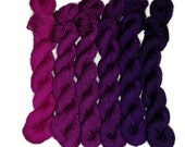 Magenta to Purple Ombre Gradient, Sock Yarn Mini Skeins, Set of 6, 120g/480yds, Hand Dyed, Superwash Merino/Nylon
