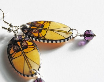 window number 26 large oval, stained glass earrings,resin earrings,gifts for her