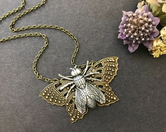 Butterfly Necklace, Silver Fly Necklace, Butterfly Jewelry, Large Moth, Nature Inspired, Woodland, Butterfly Wings, Butterfly Lover, Bold