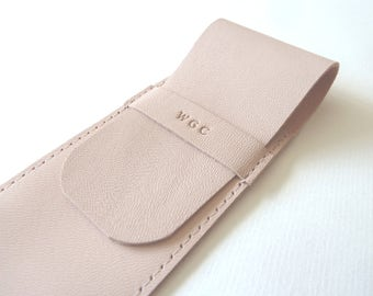 Leather Pen Case, Light Pink (2 pens)