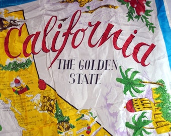 1940s Silk Scarf - California Souvenir - The Golden State