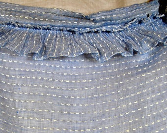 Vintage  Woven Dotted Swiss Gauze Ruffled Curtains - Set of 2 Blue Sheer Panels with White Dots