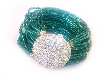 Red Carpet Inspired Multi Strand Crystal Bracelet with Rhinestone Brooch