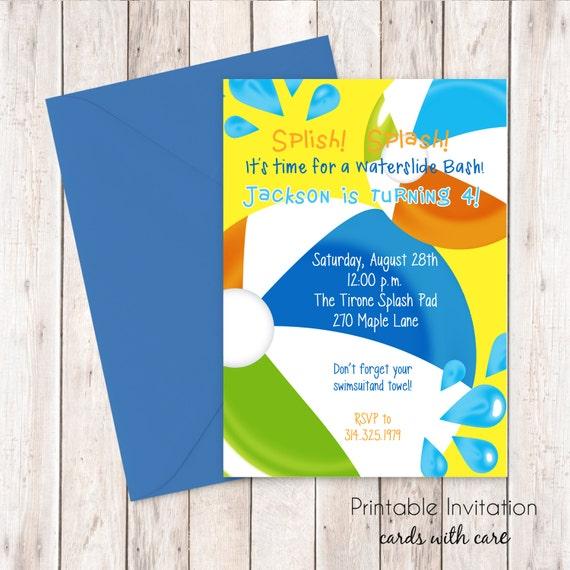 Swimming Party Invitation, Printable Invitation Design, Custom Wording, JPEG File