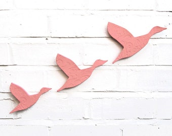 Flying ducks Ceramic wall art Blush pink art Set of 3 ceramic birds Kitchen bathroom living room Made in England UK shop EU British seller