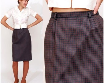 Vintage 1960s Purple Plaid Wool Knee-Length Pencil Skirt by Liberty House | XS