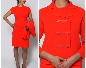 Vintage 1960s Va Va Voom Three Piece Neon  Red Orange Skirt Suit by Knits by Tally | Medium