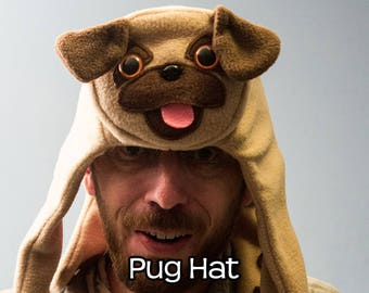 Pug Hat - Tan Fleece Animal