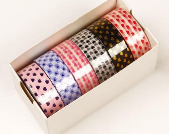 6 piece packs 10 Yards of Colorful Mini Hearts Pattern Washi Tape Assortment