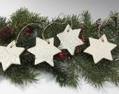 Star Ornament - White Star Ornament - Hanukkah Star - Hanukkah Decoration - Pottery Star Decoration - Hanukkah Gift Tag - Christmas Ornament