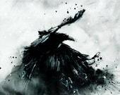 Bird art print, 8x12, A4, canvas sheet, flying abstract ink raven