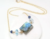 Season Clearance Sale Labradorite necklace , Blue Topaz, Sodalite pendant gemstone layering necklace, 14k gold filled chain, Gift for Her, B