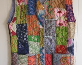 "hold for ""R"" altered artisan Patchwork Couture SILK VEST of Many Colours Wearable Folk Art XL"