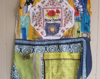 new dawn Wearable Fabric Art Collage Clothing APRON Dress - Recycled Upcycled Altered - Vintage Linens Materials - mybonny random scraps