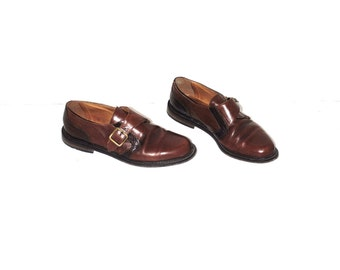 brown leather loafers 80s vintage minimalist aldo buckle shoes size 7.5