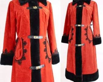 Nastasya Princess Coat | Vintage 1970s Red and Black Coat | Faux Fur and Velvet Suede Princess Coat | M