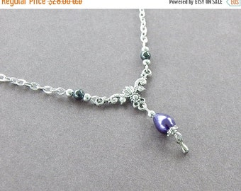 50% OFF Alice Necklace Silver Victorian Inspired Purple Pearl Bridesmaid Jewelry Prom Career Every Day heirloom Necklace