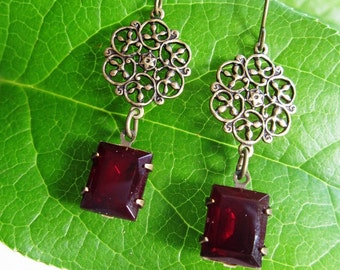Brass Filigree Chandelier Earrings, Ruby Rectangle, Geometric, Art deco Earrings, Vintage Red Swavoski, Gift for Her, Gardendiva