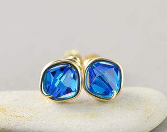 Carribean Blue Crystal Studs, Bicone Crystal, Blue Posts, Gold Fill Studs