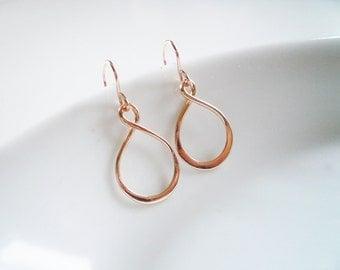Rose Gold Infinity Earrings - Small Infinity Earrings in Rose Gold Filled and Rose Gold Vermeil - Pink Gold Earrings