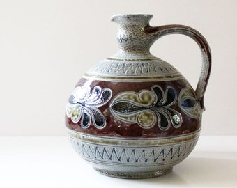 1960s West German pottery pitcher,  handmade.