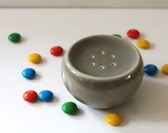 Russel Wright Iroquois Casual Charcoal pepper shaker, 1950s American pottery.