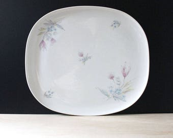 Pastel Flowers. 1950s Swiss porcelain platter by Langenthal.