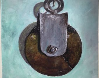 Canvas print of original acrylic painting. Rustic primitive industrial barn pulley