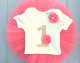 First Birthday Outfit Girl, Coral Tutu Dress, Baby Tutu Set, Baby Headband, Baby Romper, 1st Birthday Outfit Girl, Tulle Skirt, Cake Smash